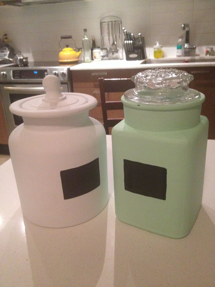 Upcycled thrift cookie jars with Chalkboard labels