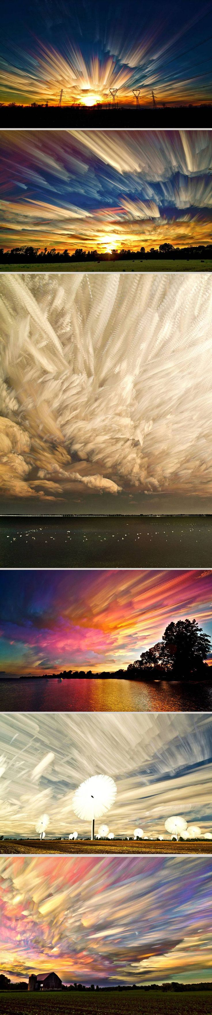 "Canada-based photographer Matt Molloy brings sky photography to a new level. By stacking hundreds of separate sky shots he is able to achieve an incredible brush-like effect. Each final picture in his ""Smeared Sky"" series is a result of combining from 100 to 200 photographs."