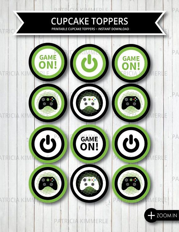 Printable Cupcake Toppers Video Game Party On Green Xbox Truck