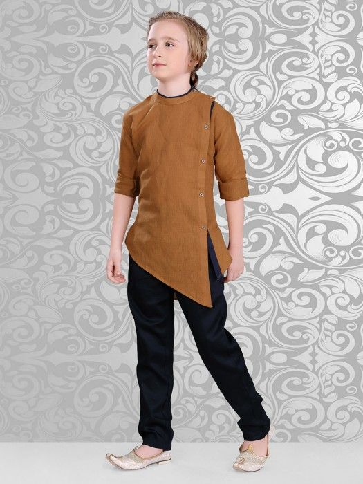 Shop Solid plain brown festive wear kurta suit online from G3fashion India. Brand - G3, Product code - G3-BKS0343, Price - 2699, Color - Brown, Fabric - Cotton,