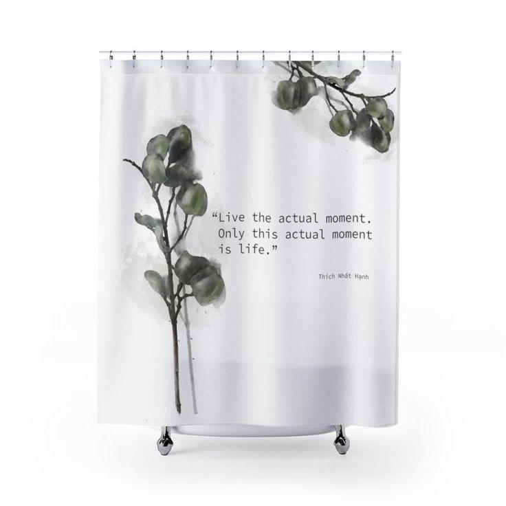 Plant Shower Curtain Mindfulness Quote Bathroom Decor Botanical