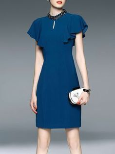 #AdoreWe #StyleWe Midi Dresses❤️Designer LONYUASH Blue Sheath Beaded Ruffled Sleeve Elegant Midi Dress - AdoreWe.com