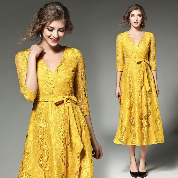 Elegant Womens 3/4 Sleeve V-Neck Yellow Lace Crochet Cocktail Prom Long Dress