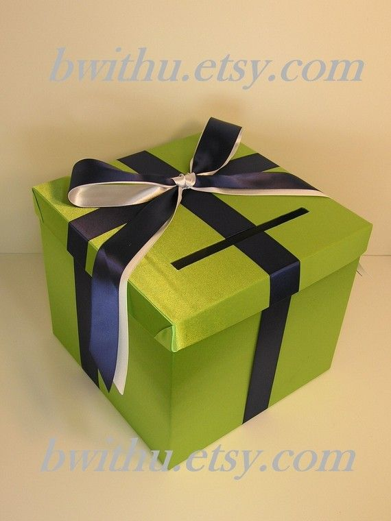 Lime green and Navy blue Wedding Card Box Gift by bwithustudio, $60.00