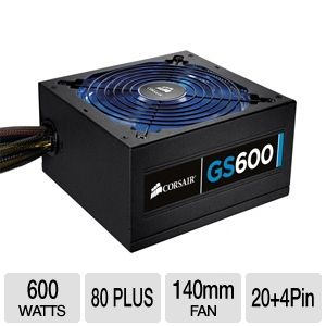 Corsair CMPSU-600G 600-Watt Gaming Series GS600 Power Supply - ATX, 600W, 80 Plus, Blue LED, 140mm Fan  69.99