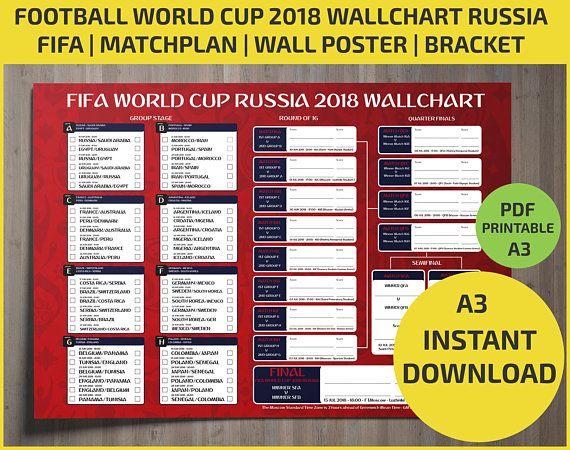 Wallchart Fifa 2018 World Cup Russia Pdf Printable Bracket Russia World Cup World Cup Russia 2018 World Cup