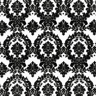 White/Black Damask Matte Satin Fabric