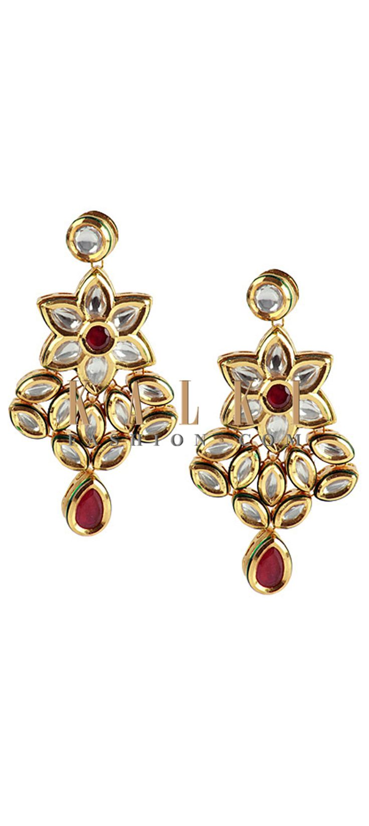 Buy Online from the link below http://www.kalkifashion.com/floral-kundan-studded-danglers.html