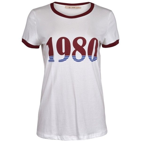 80 S Tee ($69) ❤ liked on Polyvore featuring tops, t-shirts, 80s tees, cotton tees, 1980s t shirts, retro tops and logo tee