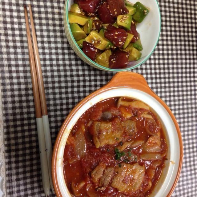旦那さんのご飯ですヽ(^ω^)ノ - 9件のもぐもぐ - 豚バラトマト煮込み  マグロとアボカドのポキ by hisumi751