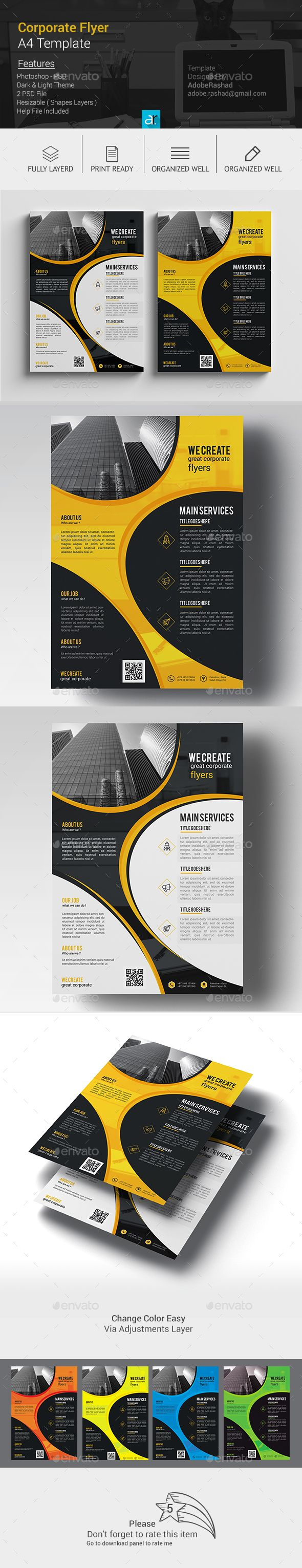 A4 Corporate Flyer Template PSD #design Download: http://graphicriver.net/item/a4-corporate-flyer-03/14026718?ref=ksioks