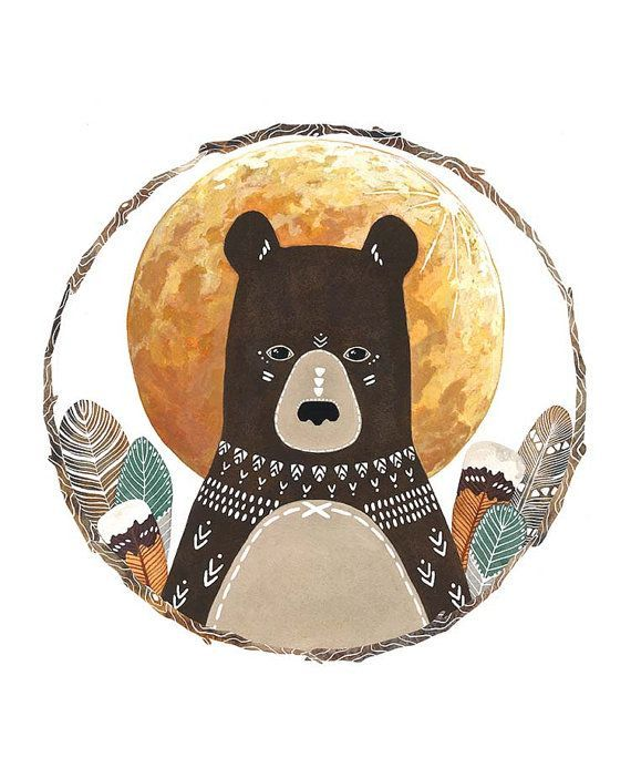 Bear Illustration Painting, Watercolor Art,  Archival Art Print - Little Bear Solstice by Marisa Redondo