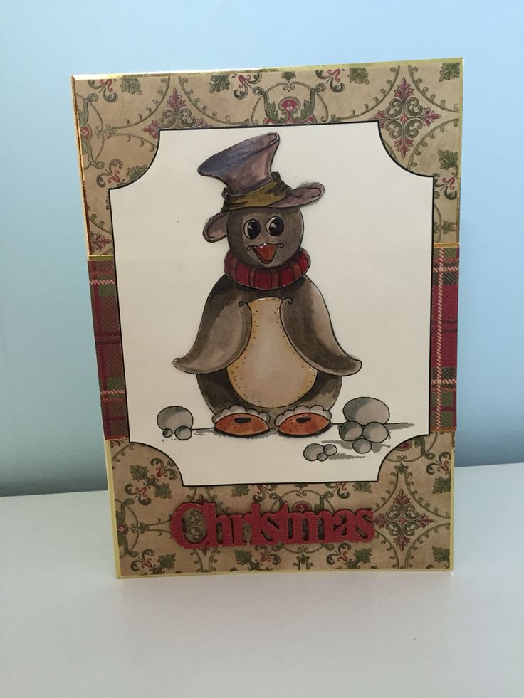 Penguin Christmas card made with House of Zandra decoupage.
