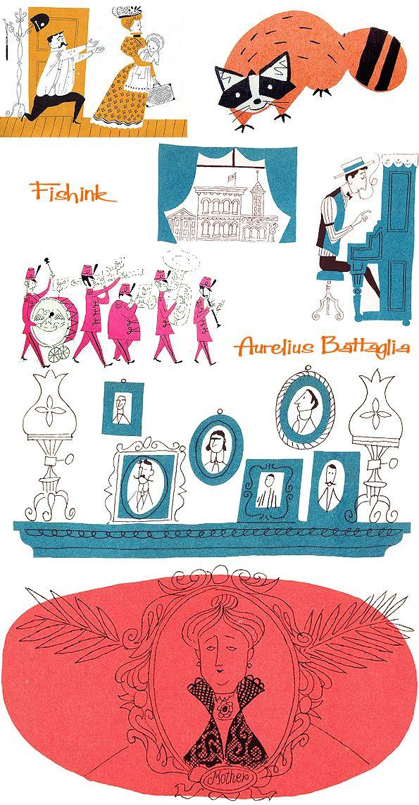 Aurelius Battaglia Disney Illustrator creating midcentury artwork.