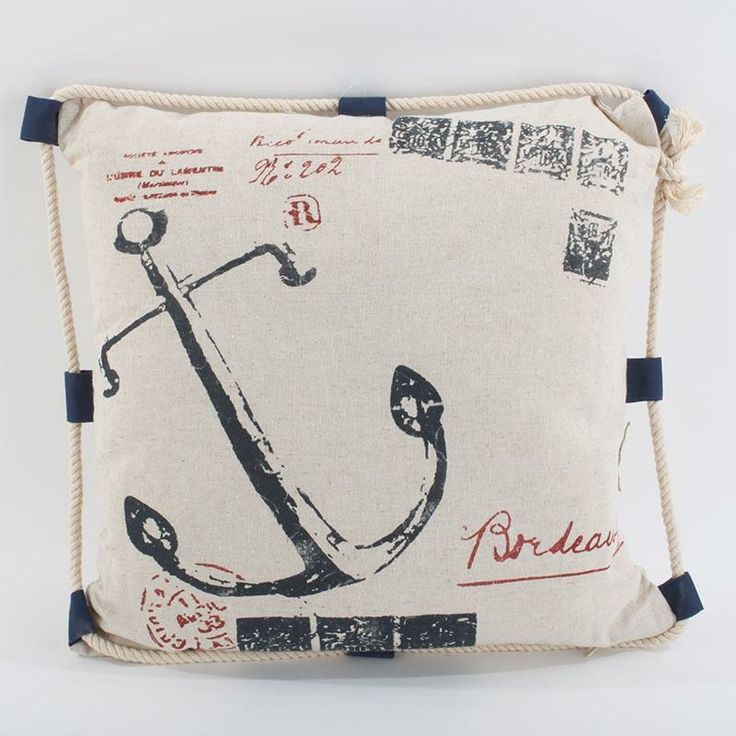 Cushion with rope and anchor www.inart.com