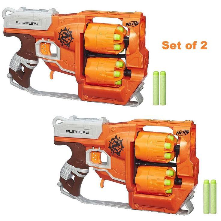 Nerf Soft Dart Gun Toy Zombie Strike FlipFury Blaster Set of 2 with +24 Darts #Nerf