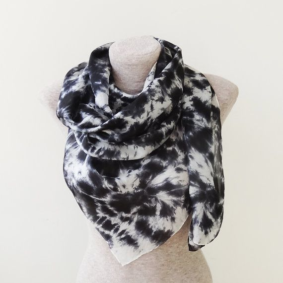 FREE SHIPPING Black and white  or white and black? - handpainted silk scarf / shawl - tie-dye - great gift