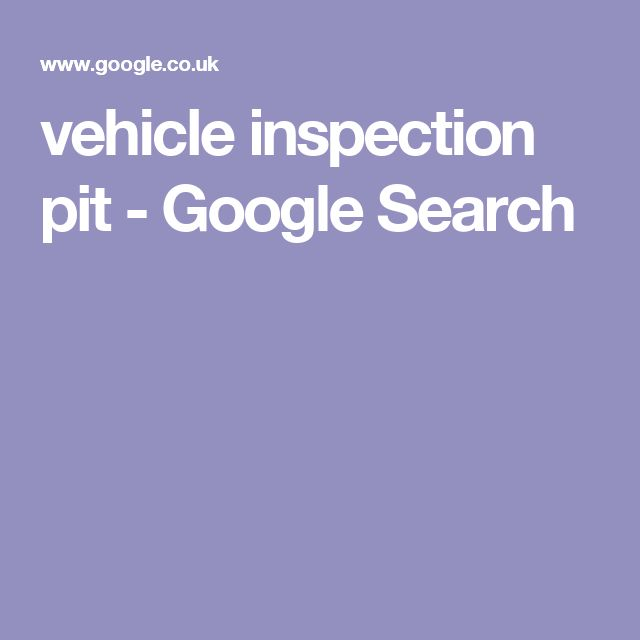 vehicle inspection pit - Google Search