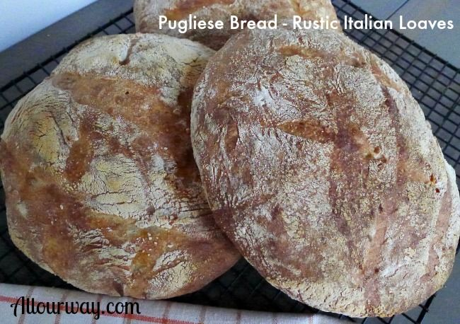 Pugliese Bread is an Italian rustic round loaf that is similar to ciabatta. It is enhanced by the use fancy durum flour and leftover mashed potatoes.