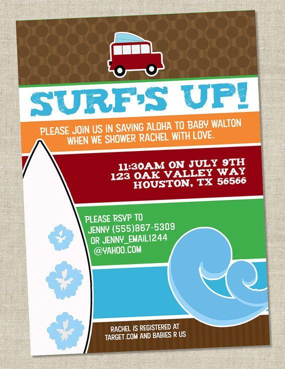 Surf Baby Shower Invitation - Hawaiian Baby Shower Invite - Aloha (Printable digital File OR printed cards)