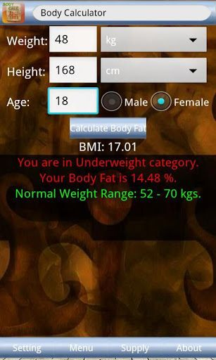 How much do you know about your body health? Are you too fat or too thin? Just input some relevant information and Body Calculator makes you know your body better and more!<p>PROPERTUES<br>Simple body index calculator<br>Category for your BMI<br>Normal weight range<br>Easy and simple to use<br>Suit for android system only<p>INSTRUCTIONS<br>To be simple, Body Calculator is a BMI calculator and it provides more information for your body health.<br>After the calculation in this app, you will…