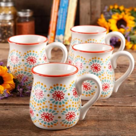 LOVE THESE! The Pioneer Woman Flea Market 18 oz Decorated Belly Mugs, Multi Burst Red, Set of 4 - Walmart.com