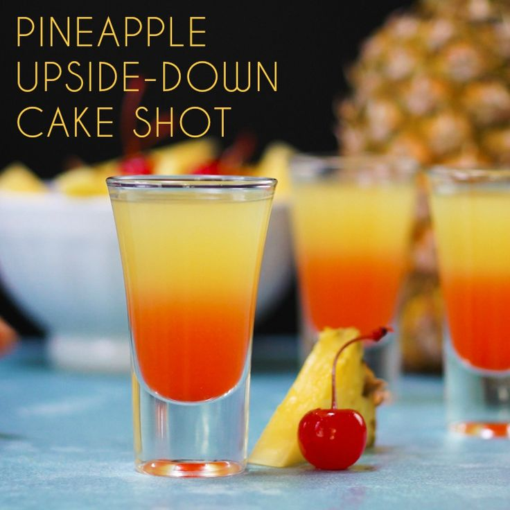 Have your cake and drink it too, because this tropical and Technicolor pineapple upside-down cake shot really takes the cake!