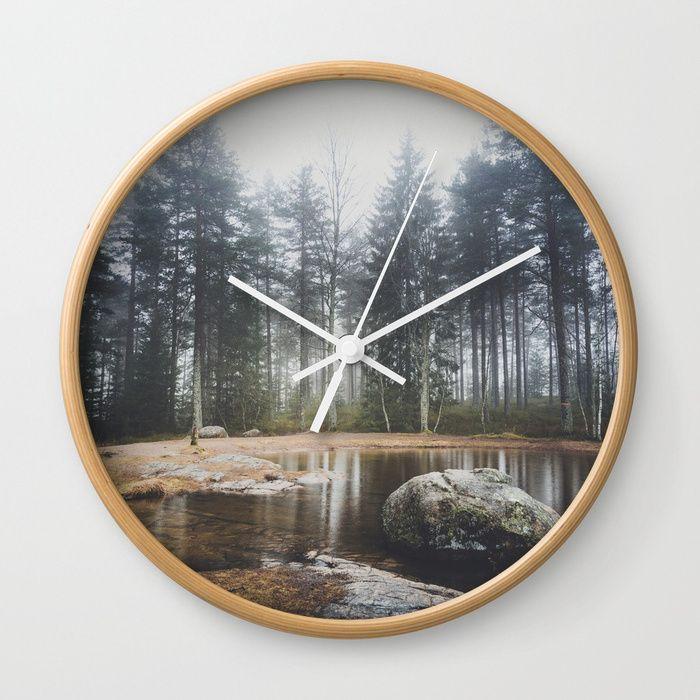 Moody mornings Wall Clock by HappyMelvin. #nature #wanderlust #landscape #forest #wallclocks #clocks