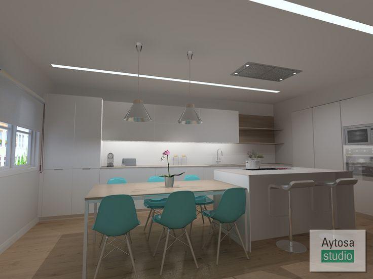 Cocinas SANTOS | Modelo LINE-E  13 Blanco Innsbruck. Proyecto realizado por Aytosa studio para una casa situada en el centro de Badajoz.