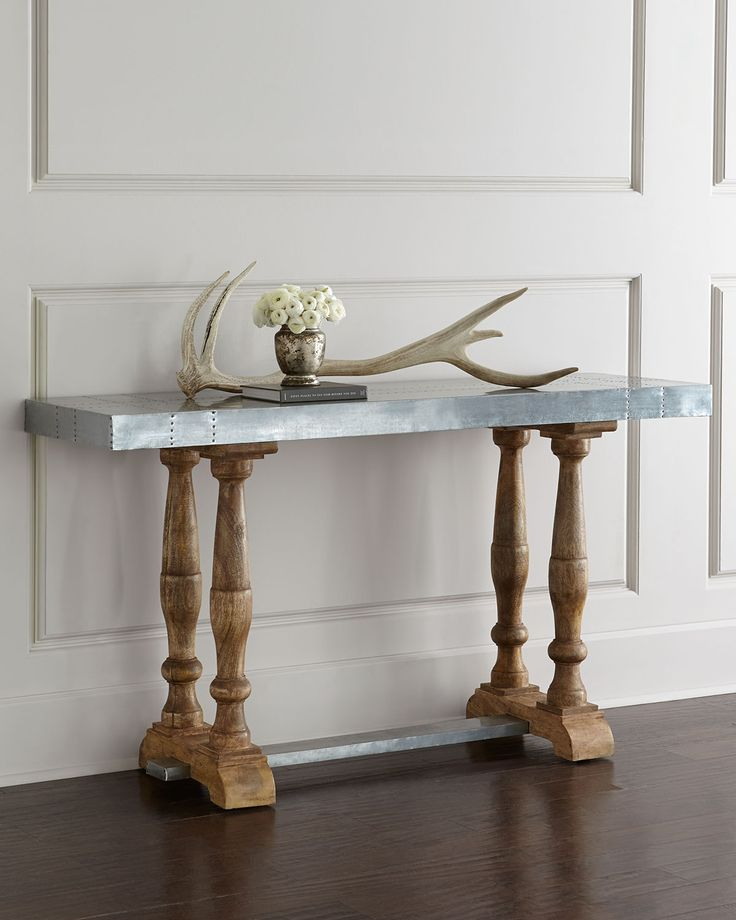 Nice Arteriors Home Decor   Tables: A Modern Take On A Classic Console Table  Design Featuring A Galvanized Metal Top With Rivet Detailing And Matching  Stretcher ...