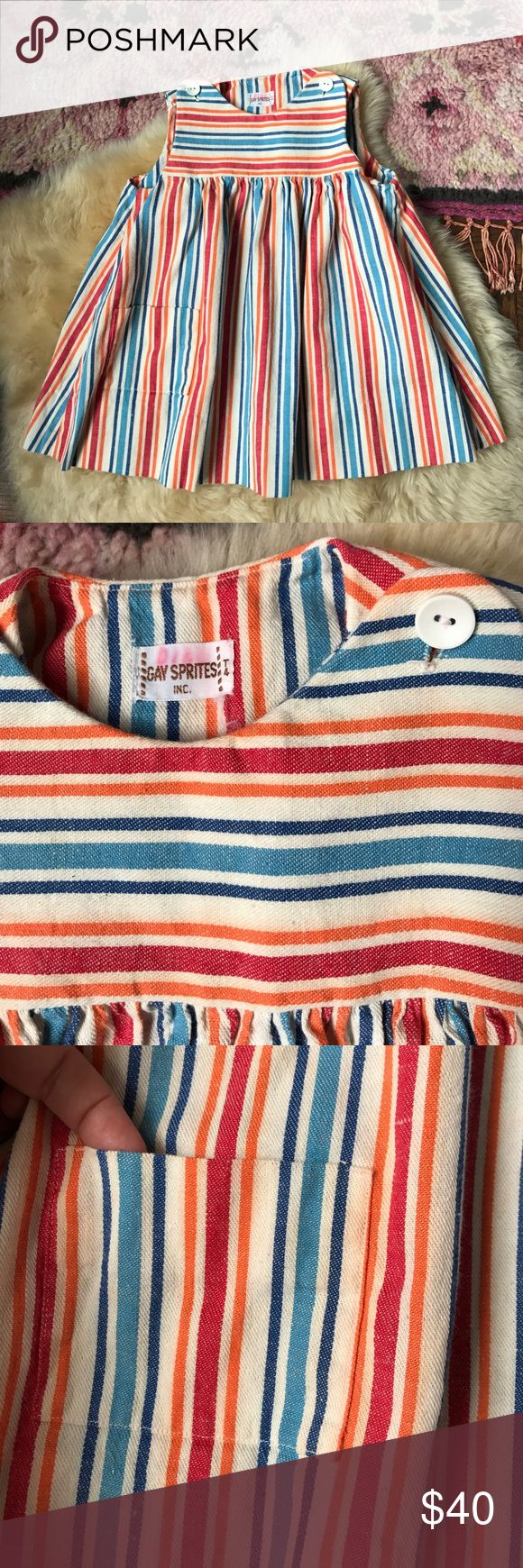 Vintage Girls Dress Striped! So sweet with an empire silhouette. In excellent condition with front pocket. Purchased from a dress maker in Austin Texas. Costume Baldor Dresses Casual