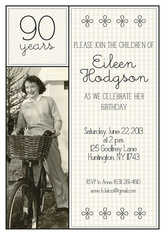90th Birthday Invitation by MadeByCappy on Etsy