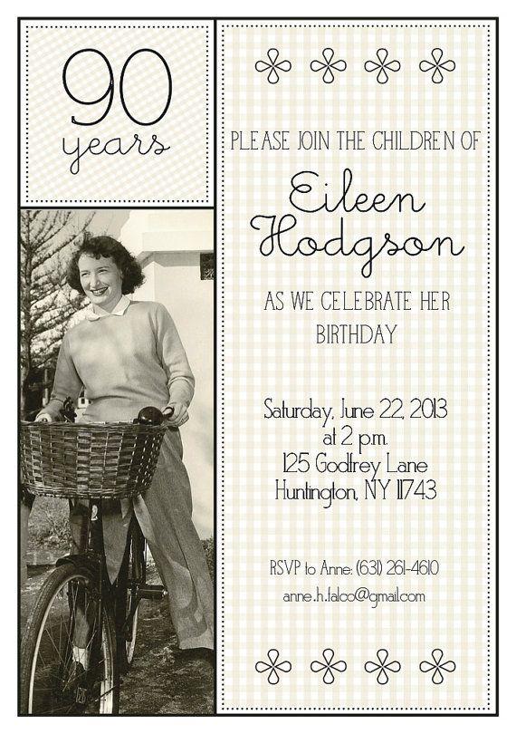 90th Birthday Invitation by MadeByCappy on Etsy