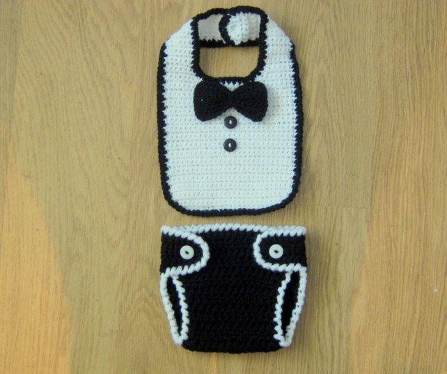 Cute Little Man Crochet BIB, BOW TIE and Nappy DIAPER Cover, Photo Prop, 0-3 m