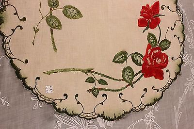 """искусство и ремесла общества работы шелка ручной вышитый розы на полотне центральный элемент ~ 22 """"lx20"""" W"""