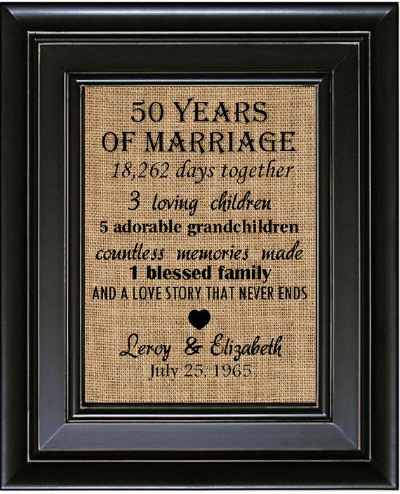 PERSONALIZED 50th Wedding Anniversary Burlap Print by BurlapNGlass