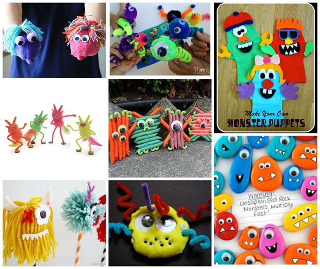Fabric, Felt & Foam Nifty, Thrifty & Thriving made some felt monsters in order to create a banner for her son's birthday. These Glitter Foam Monsters from Crafts by Amanda are perfect for a group activity or a make & take! Who could resist these darling Glove Monsters from Craftaholics Anonymous? Head over to Kix Cereal to learn how to make a monster felt board book from a cereal box! Mix and Match Monsters is a fun activity your kids will love from And Next Comes L Hole in your child's…