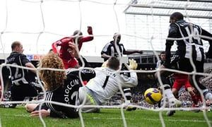 December 2008: Ryan Babel takes advantage of the chaos reigning in the Newcastle defence to score Liverpool's  third in a 5-1 win