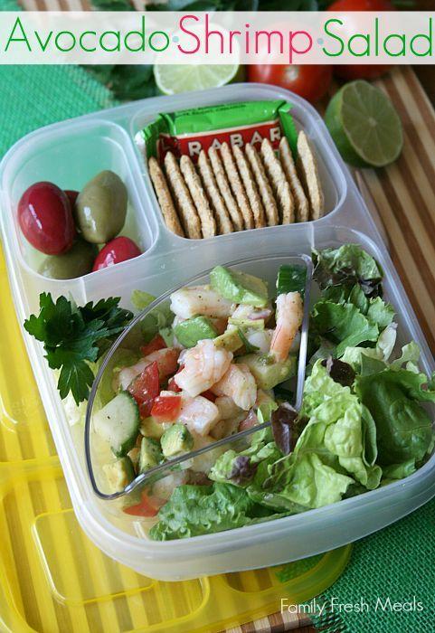 50 healthy work lunch ideas - FamilyFreshMeals.com - Avocado Shrimp Salad