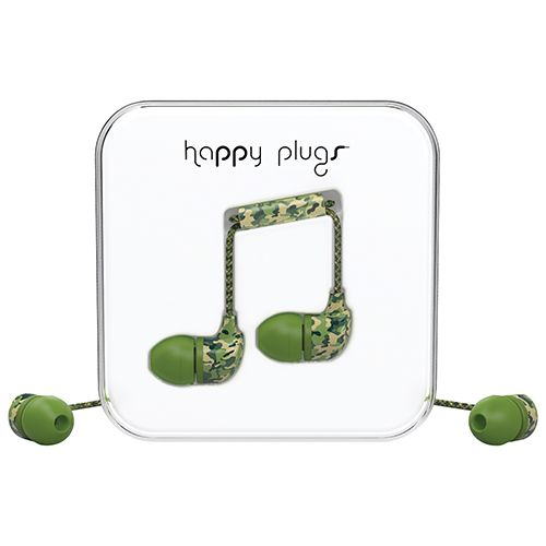 Happy Plugs In-Ear Sound Isolating Headphones with Mic - Camouflage