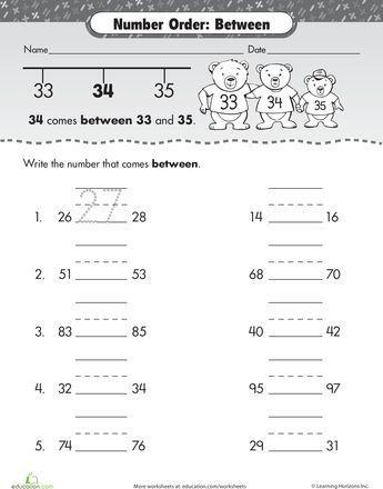 Worksheets: Number Order: What Comes Between?