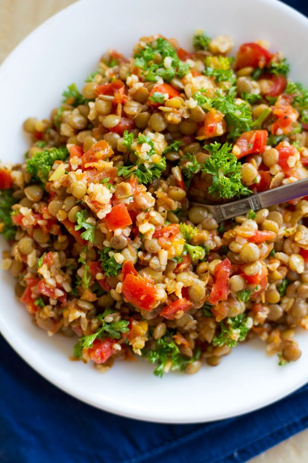 Sauteed Garlic and Tomato Lentil Salad - Vegan
