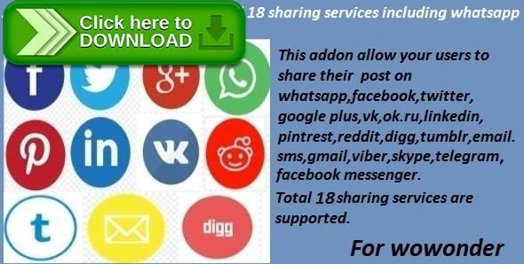 [ThemeForest]Free nulled download Advanced Social Sharing Pro For WoWonder from http://zippyfile.download/f.php?id=57402 Tags: ecommerce, Advanced Social Sharing Pro for wowonder, facebook sharing, fb messenger sharing, gmail sharing, ok.ru sharing, Skype sharing, sms sharing, social share for wowonder, telegram sharing, Twitter Sharing, viber sharing, vk.com sharing, wowonder addon, wowonder plugin