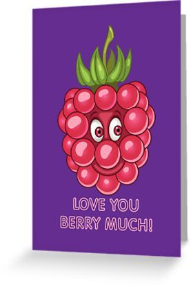 Funny Fruits in Love. Raspberry. Blackberry. Valentines day humor. Comic quote: Love you berry much. • Also buy this artwork on stationery, apparel, stickers, and more.