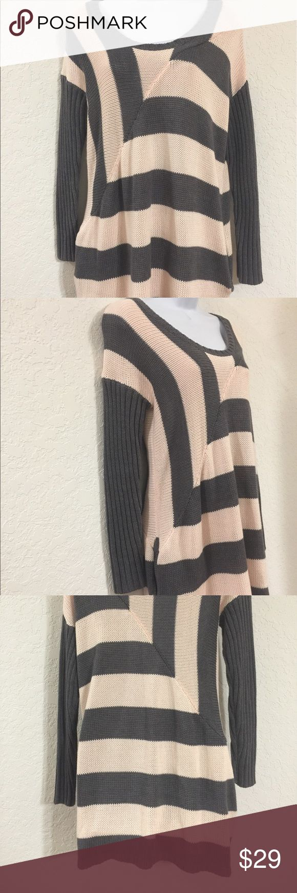 """Nasty Gal knitted peach gray sweater Great Nasty agal knitted pullover sweater. Side pockets and fitted. Awesome with skinny jeans or shorts. Chest 22"""", Length 32"""", sleeve 19"""". Great condition. Peach/gray. Nasty Gal Sweaters Crew & Scoop Necks"""