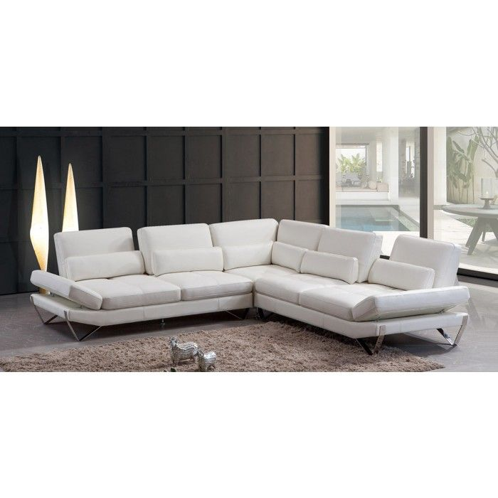 833 - Modern Snow White Leather Sectional Sofa comes in white leather. Overall Dimensions: L70