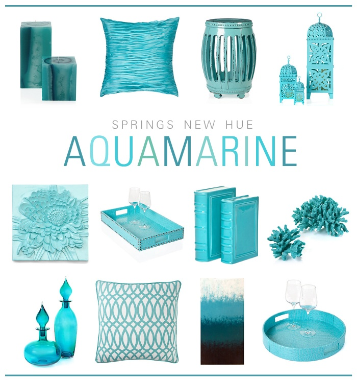 Brighten the your home with cheerful tones of spring's new hue:  aquamarine.