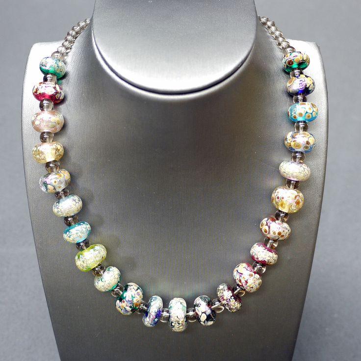 "Glass designed and created by Veronique, Smoked Quartz, Sterling Silver  Length: 17"" - 19"" / 43cm - 49cm Item #: nec027"