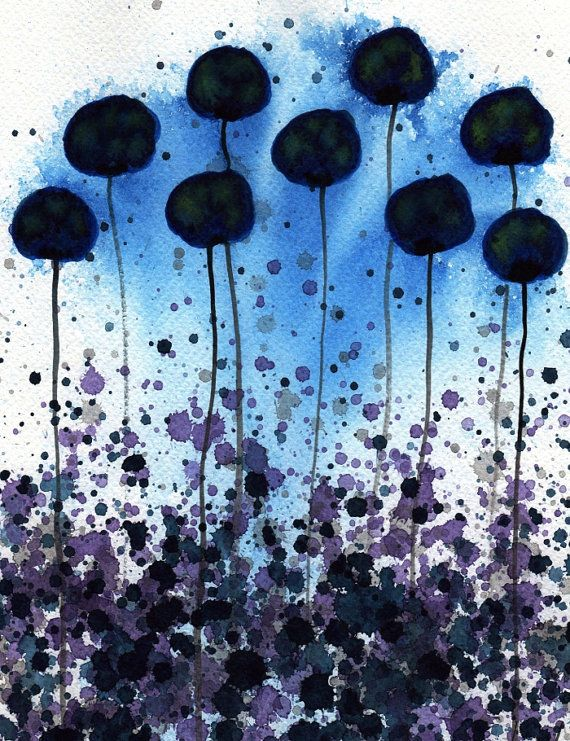 Velvety Twilight  Midnight Blue Flowers  Giclee by printmakerjenn, $35.00
