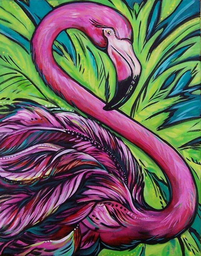 163 best canvas art birds images on pinterest for Flamingo feather paint